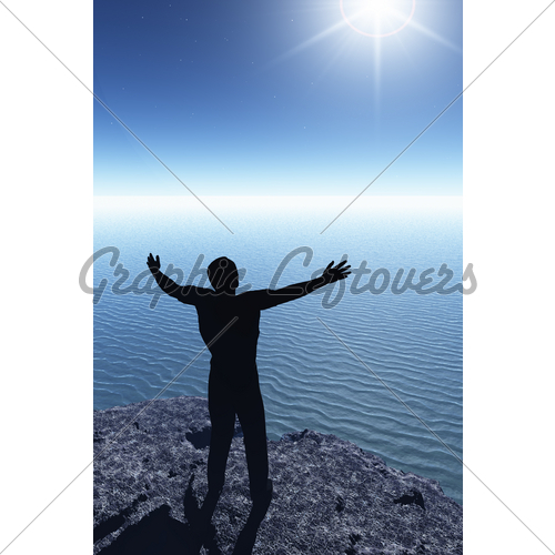 500x500 Man Silhouette On Cliff Gl Stock Images
