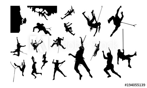 500x300 Set Of Climber Silhouette Vector Illustration