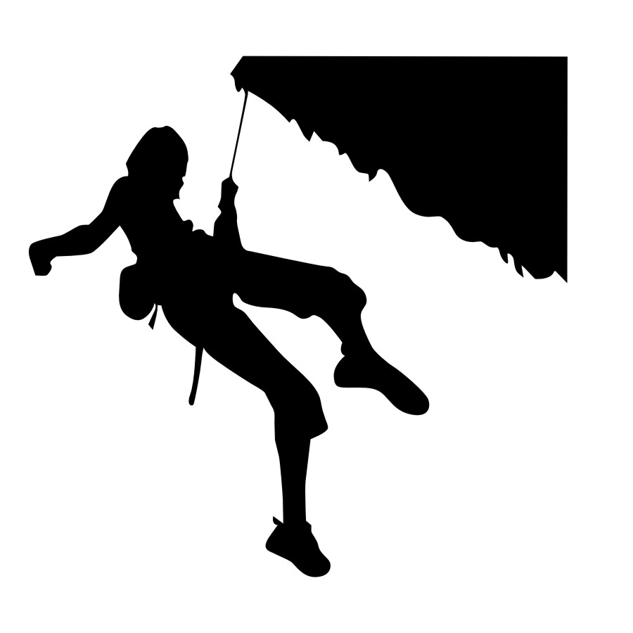 900x900 Silhouette Of Man Rock Climbing In Cave Over Water Stock Photo