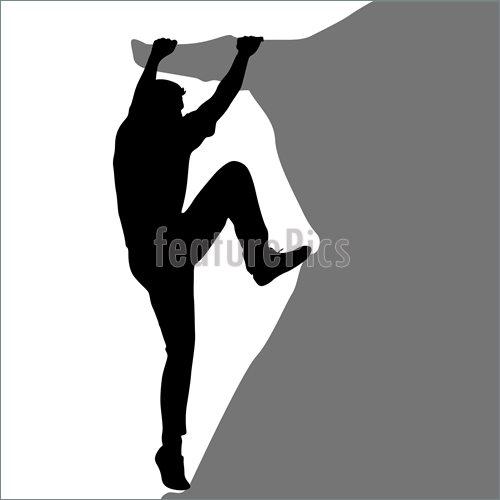 500x500 Black Silhouette Rock Climber Stock Illustration I5464111