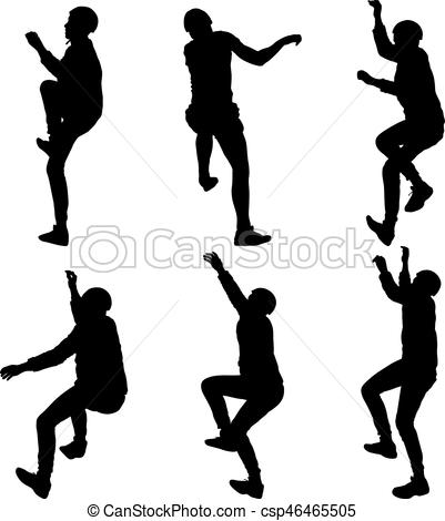 401x470 Black Set Silhouette Rock Climber On White Background. Vector
