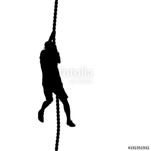 500x500 Black Silhouette Mountain Climber Climbing A Tightrope Up On Hands