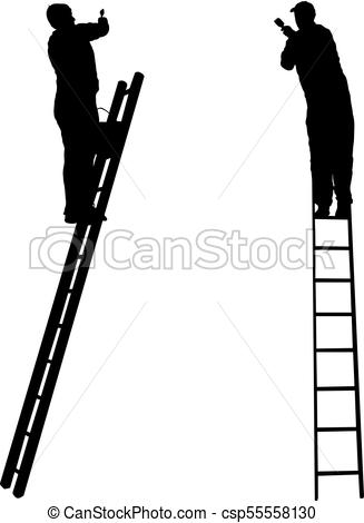 327x470 Silhouette Worker Climbing The Ladder On White Background. Vectors