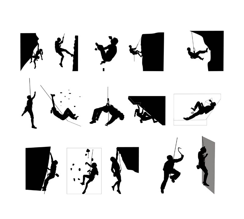 800x720 Climbers Vector Silhouettes