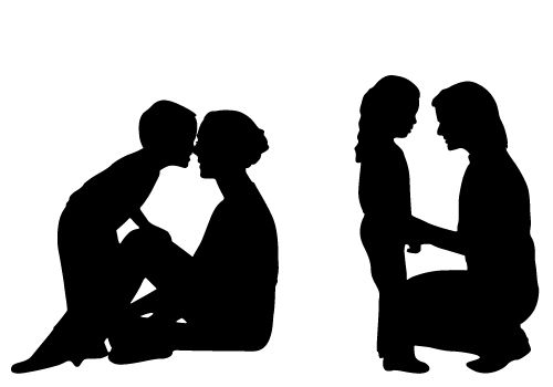 500x350 Mother And Child Silhouette Clip Art Free