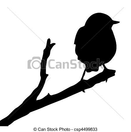 450x456 Vector Silhouette Of The Bird On Branch Vectors