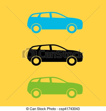 450x470 Set Of Colorful Car Silhouette. Vector Illustration. Eps10 Eps