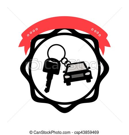 450x470 Silhouette Seal Key Ring Car With Label Vector Illustration Clip