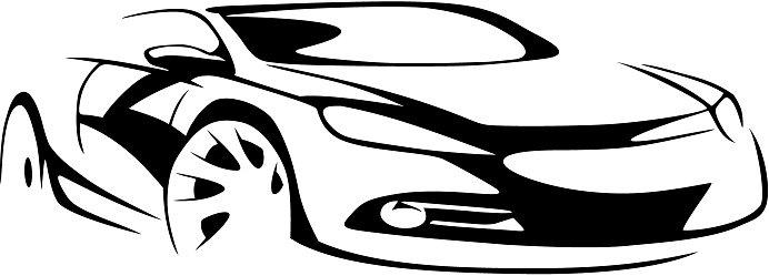 692x249 Sports Car Silhouette Premium Clipart