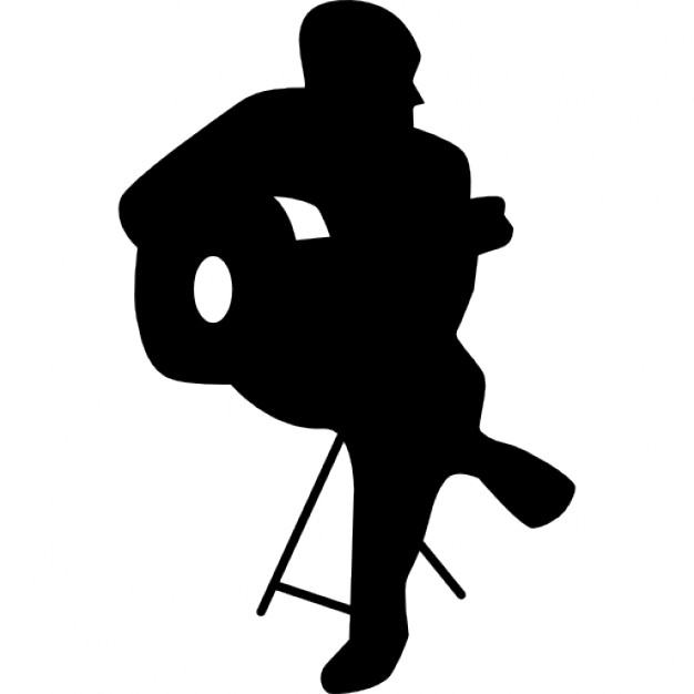 626x626 Flamenco Guitar Player Sitting Silhouette Icons Free Download