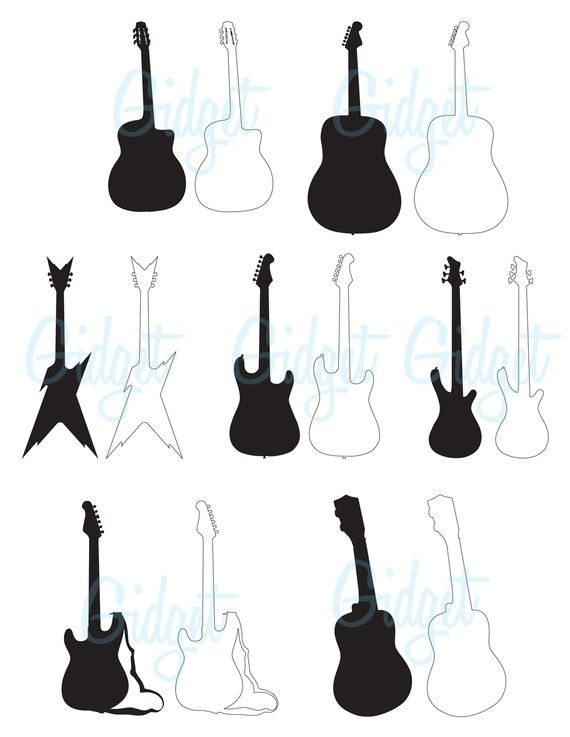 570x737 Guitar Clip Art Digital Paper Pack Guitar Silhouettes Scrapbook