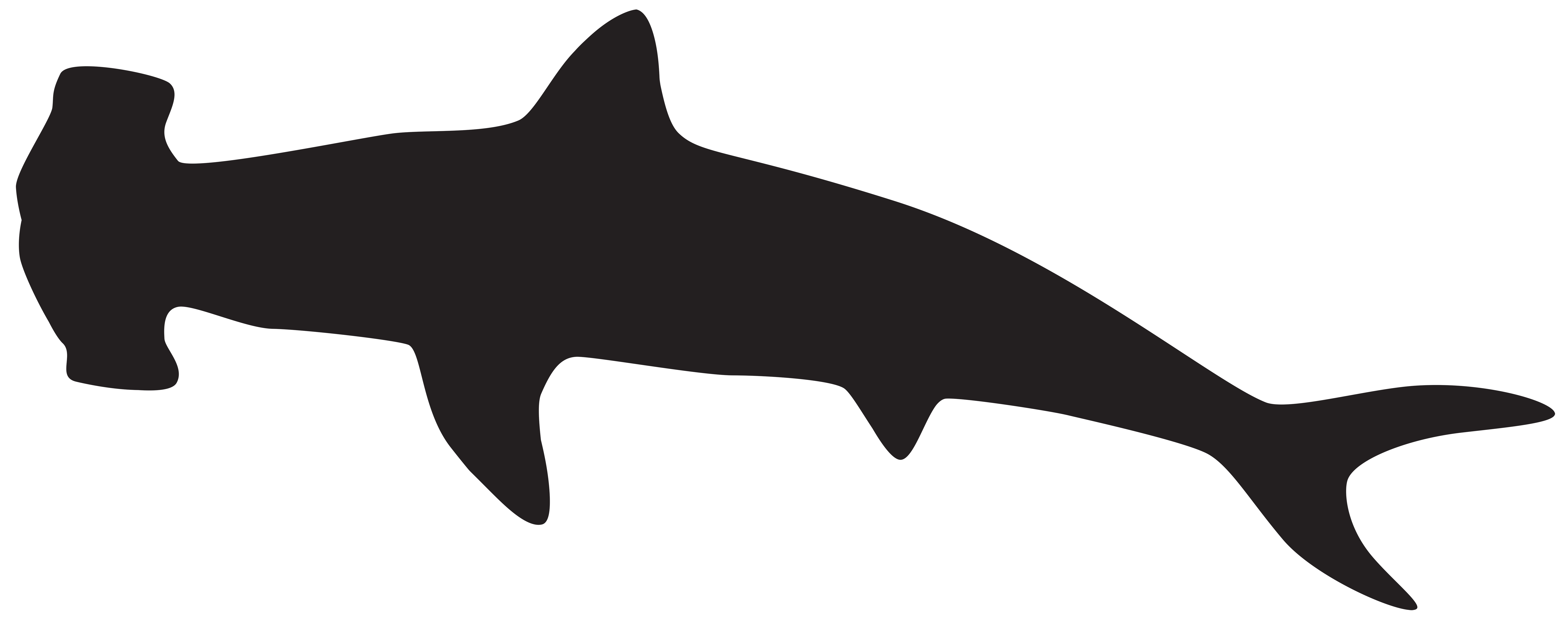8000x3188 Shark Clipart Silhouette Collection