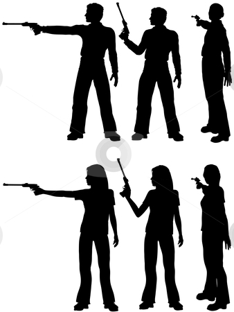 338x450 Clip Art Silhouette Man Woman Shoot Target Pistol Stock Vector Rvxeclv