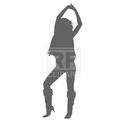 400x400 Dancing Woman Silhouette Free Vector Clip Art Image
