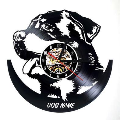 394x394 Rottweiler 3d Vinyl Record Silhouette Wall Clock Rottweiler