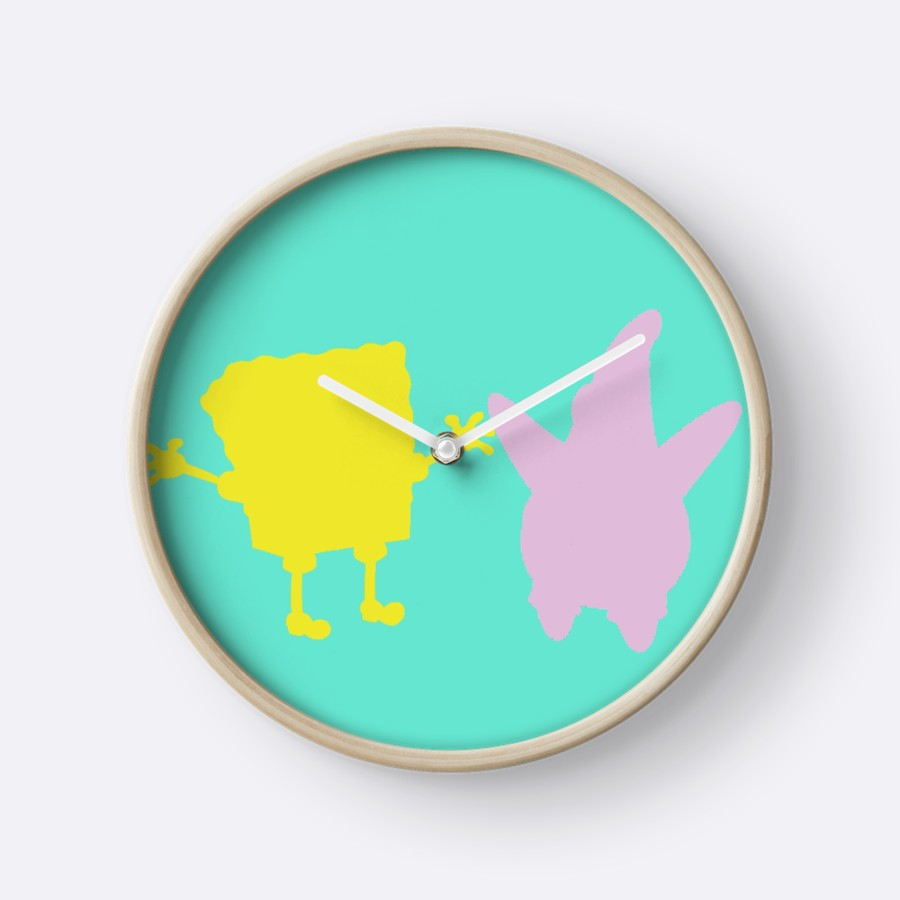 900x900 Spongebob Patrick Silhouette Clocks By Nesominas Redbubble