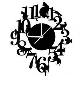 289x300 Black Cat Silhouette Wall Clock Hook Set Cute Interior (Black