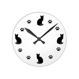 307x307 Cat Silhouette Wall Clocks Zazzle