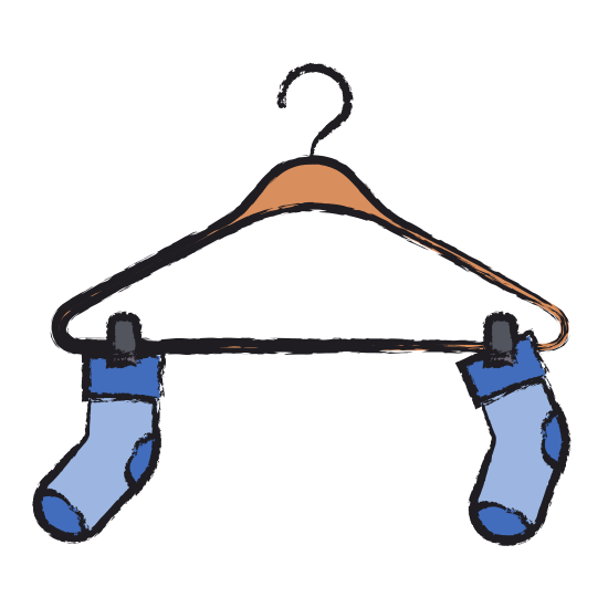 550x550 Colored Blurred Silhouette Of Pair Of Socks In Clothes Hanger