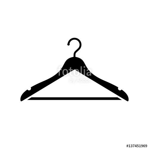 500x500 Hanger Icon. Black, Minimalist Icon Isolated On White Background