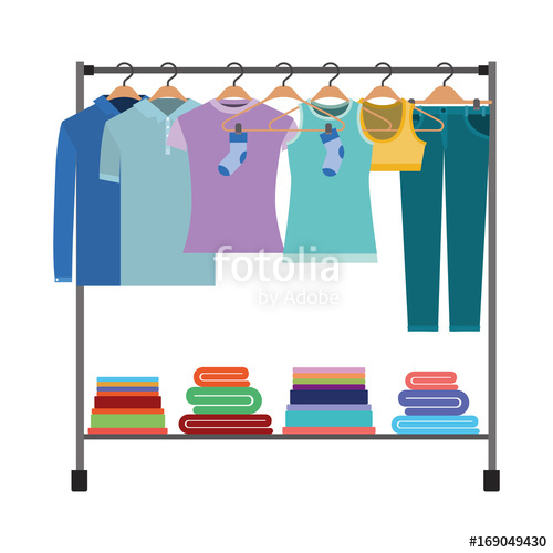 500x500 Colorful Silhouette Of Clothes Rack With T Shirts And Pants