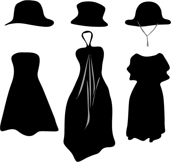 556x528 Fashion Clothes And Accessories Silhouettes Vector