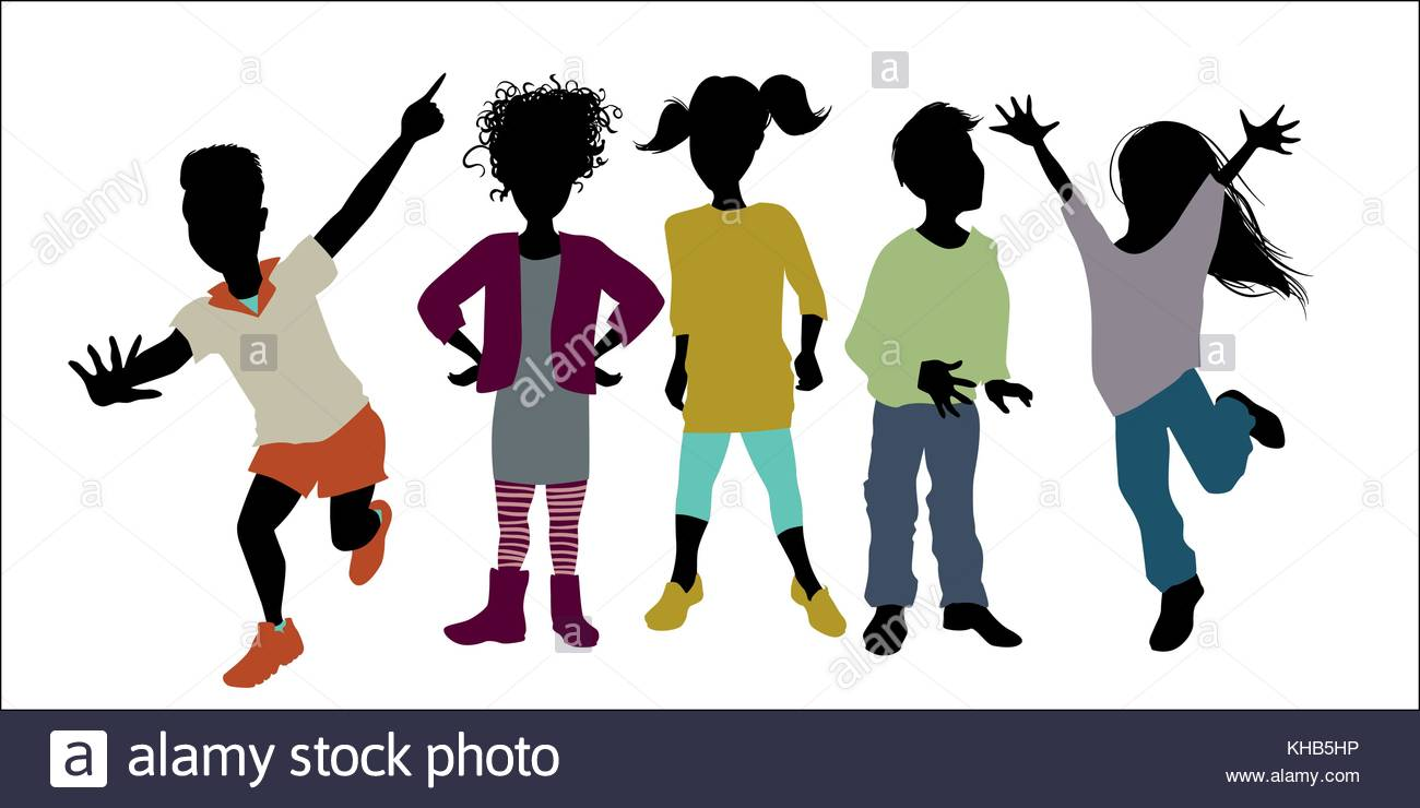1300x740 Children Silhouettes With Color Clothes Full Vector Stock Vector