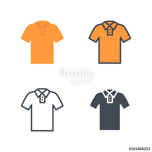 500x500 Polo Shirt Top Clothes Flat Colored Line Silhouette Stock Image