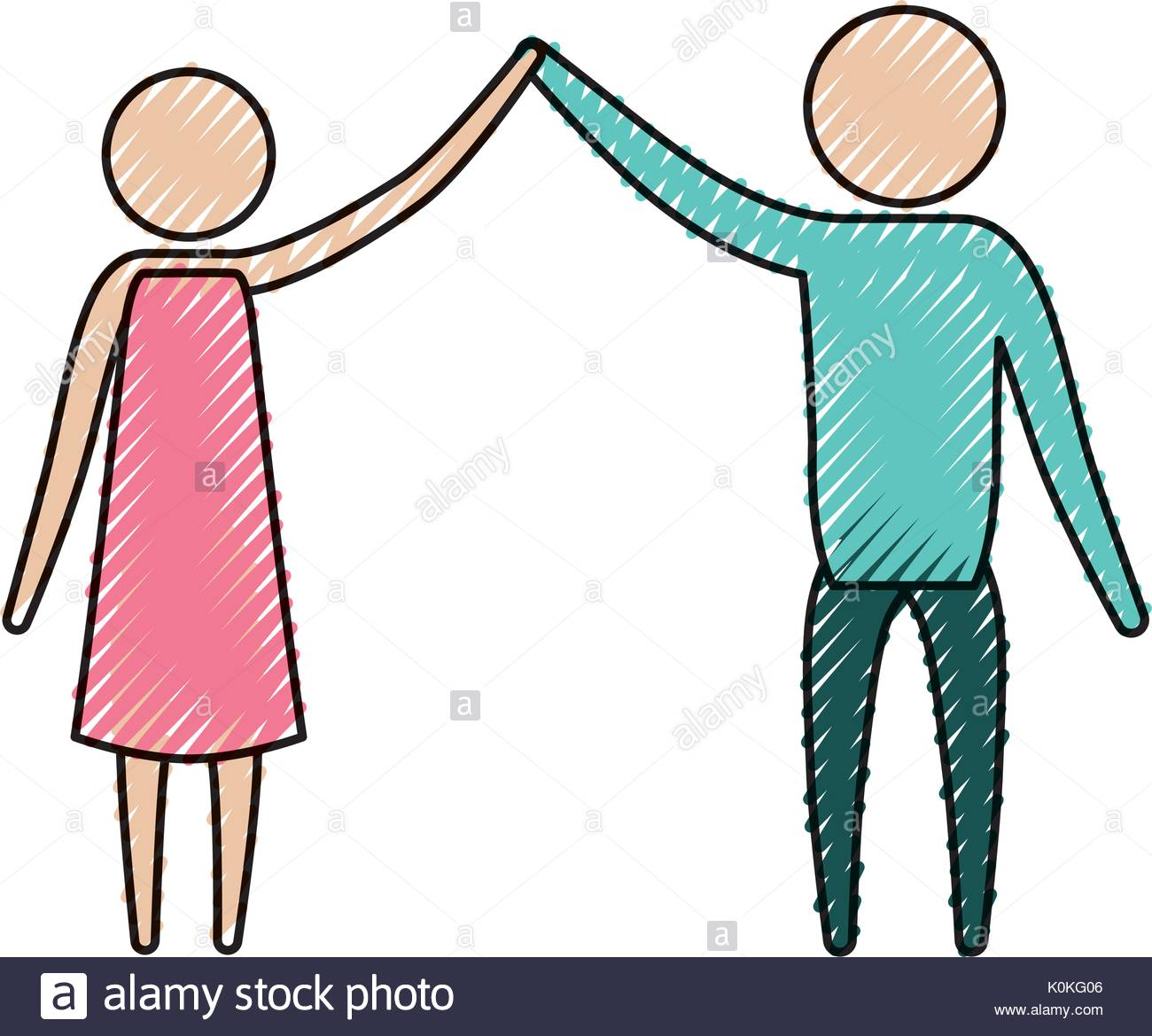 1300x1169 Color Crayon Silhouette Of Pictogram Couple Clashing Hands