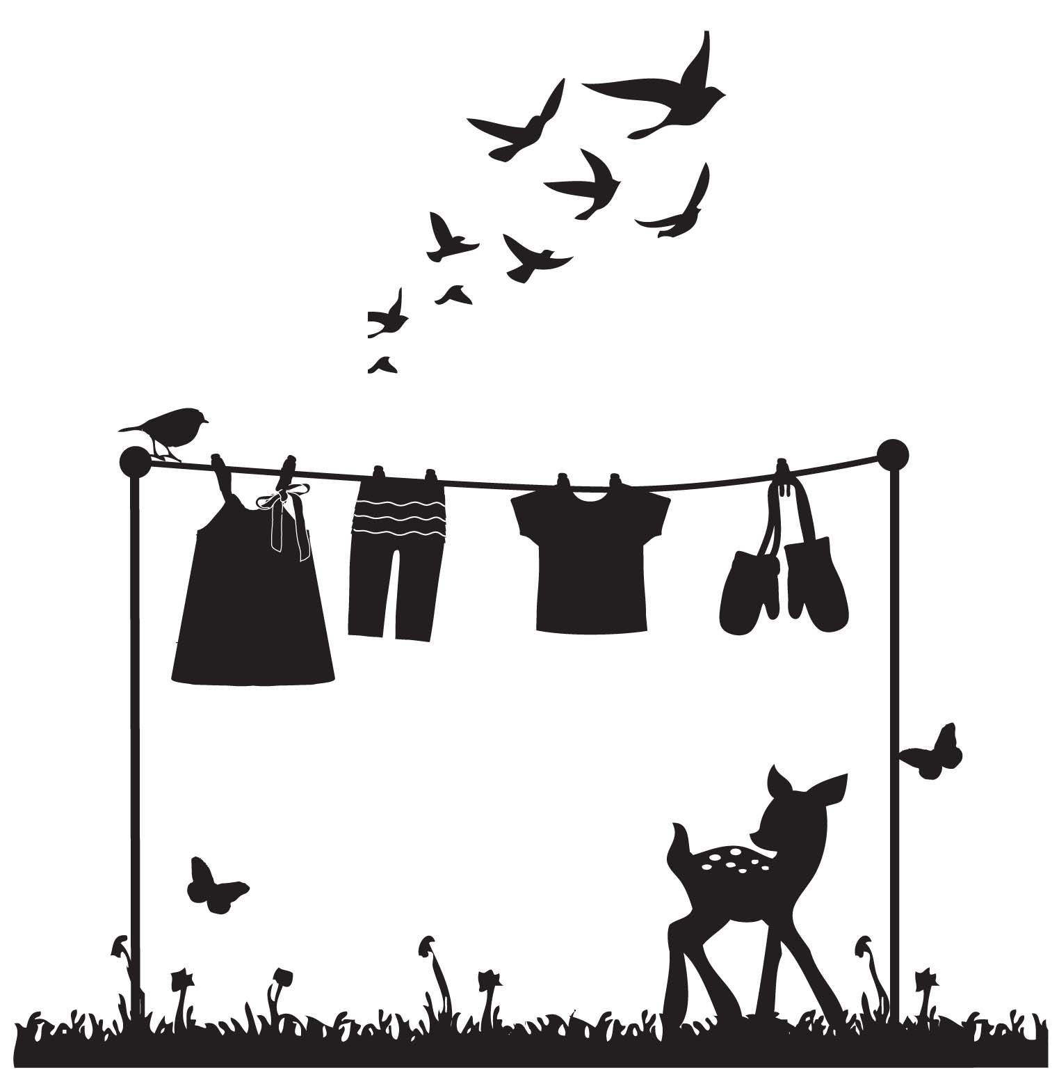 1523x1558 Clothes Line Silhouette
