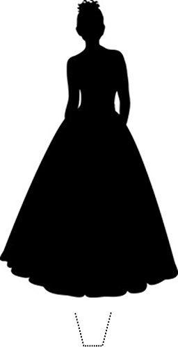 256x500 Novelty Female In Ballgown Prom Dress Silhouette 12 Edible Stand
