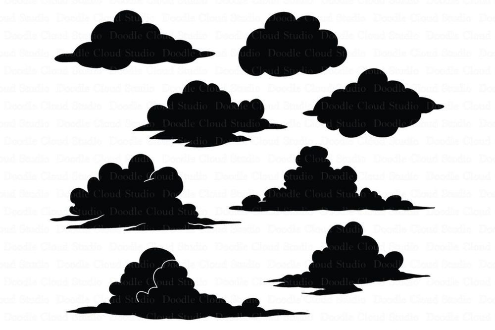 1000x666 Clouds Svg Files For Silhouette Cameo And Cricut By Doodle Cloud