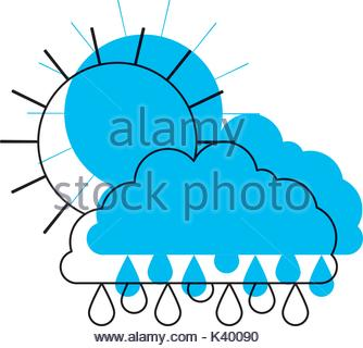 334x320 Cloud Sky Silhouette With Rain Drops Stock Vector Art