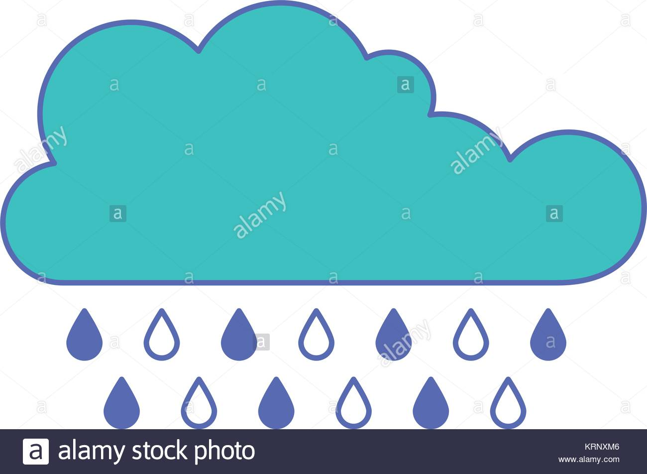 1300x952 Cloud With Rain In Blue And Purple Color Sections Silhouette Stock