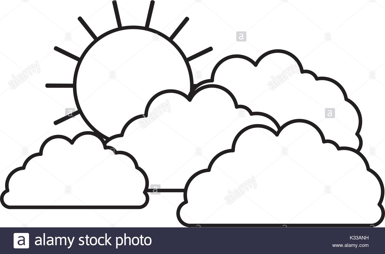 1300x858 Clouds With Sun In Sketch Silhouette On White Background Stock