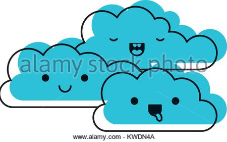 450x281 Kawaii Cumulus Clouds Icon Flat In Colored Crayon Silhouette Stock