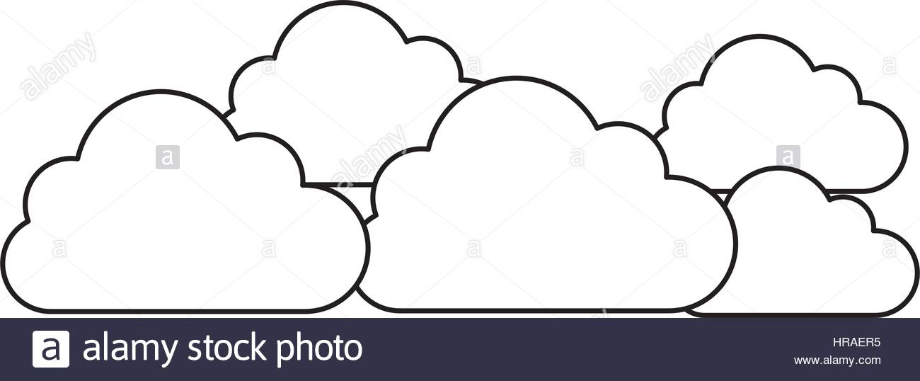 1300x538 Silhouette Set Collection Clouds Tridimensional In Cumulus Shape