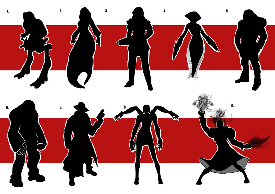 900x636 Character Silhouette Set 2 By Digital Clown