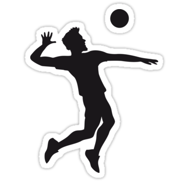 375x360 Man Boy Jump Serve Silhouette Shadow Outline Cool Volleyball Round