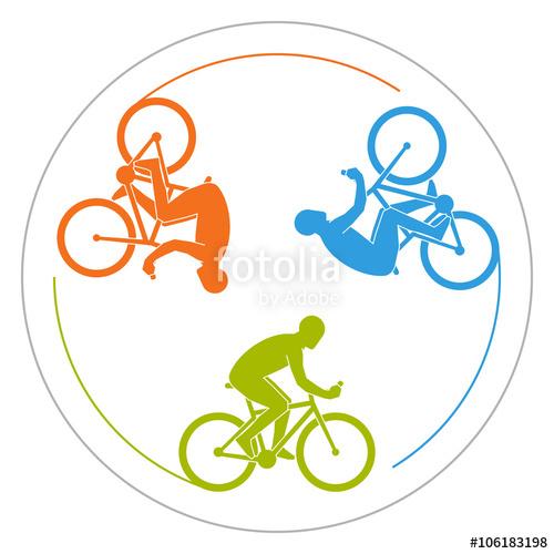 500x500 Circular Logo Cycling. Vector Symbol For Cycling Club. Colorful