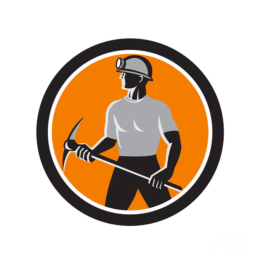 900x900 Coal Miner Holding Pick Axe Side Circle Retro Digital Art By