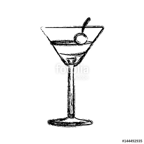 500x500 Blurred Silhouette Martini Drink Cocktail Glass With Cherry Vector