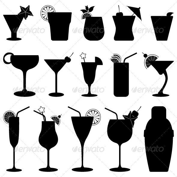 590x590 Cocktail Drink Fruit Juice Silhouette Fruit Juice, Silhouettes