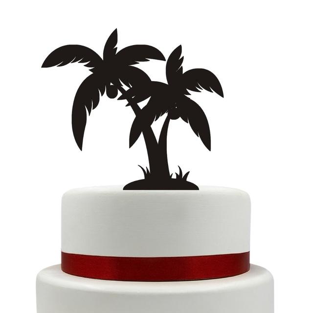 640x640 Wedding Cake Topper, Coconut Tree Cake Topper, Silhouette, Acrylic