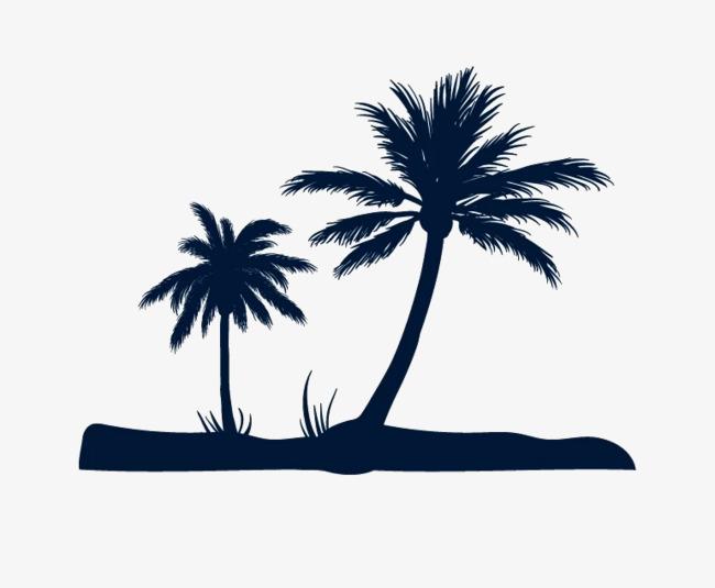 650x535 Coconut Tree Silhouette, Black, Coconut Tree, Beach Png Image