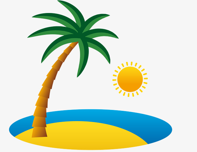 650x502 Beach Png Vector Element, Beach Vector, Coconut Tree, Sun Png