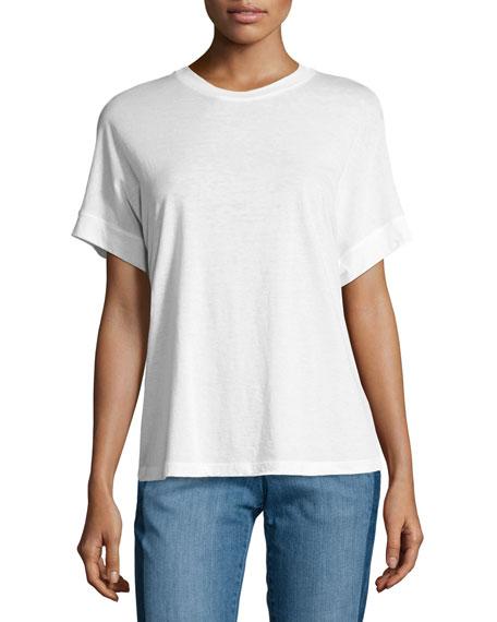 456x570 Vince Short Sleeve Cotton Silk Cocoon Tee Neiman Marcus