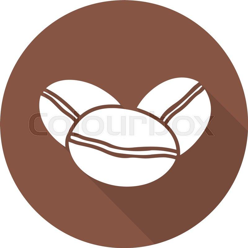 800x800 Coffee Beans Flat Design Long Shadow Icon. Coffee Shop Emblem