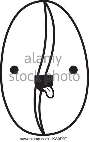 297x470 Coffee Bean Closeup Cartoon Monochrome Blurred Silhouette Stock