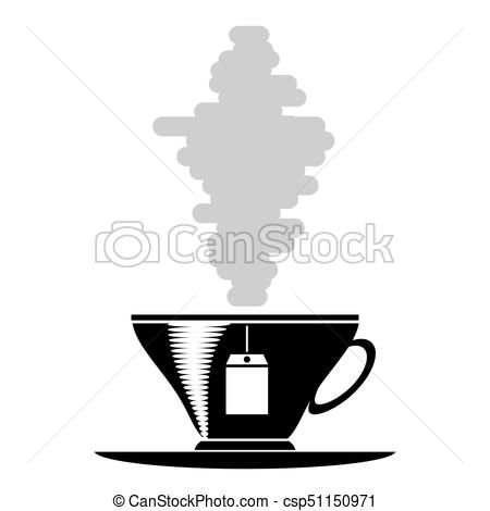 450x470 Tea Cup Silhouette Isolated On White Background Vectors